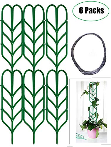 Jashem Garden Trellis for Climbing Plants 6 PCS Plastic Indoor Trellis for Potted Plants Green Stackable Leaf Shape Mini Climbing Plant Stakes DIY Flower Pot Support for Pea Vegetable Clematis