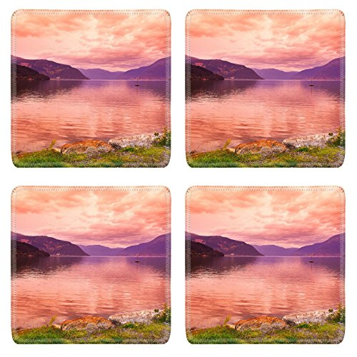 Liili Natural Rubber Square Coasters Image Id 39021222 Sunset In Fjord Hardanger Norway Nature And Travel Background