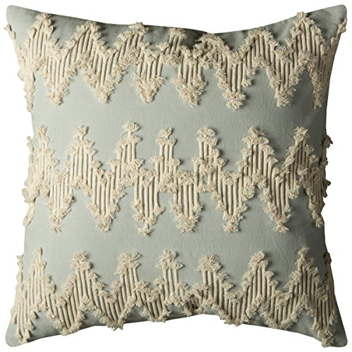 Rizzy Home Decorative Poly Filled Throw Pillow, 20 x 20 , Lt Blue Ivory