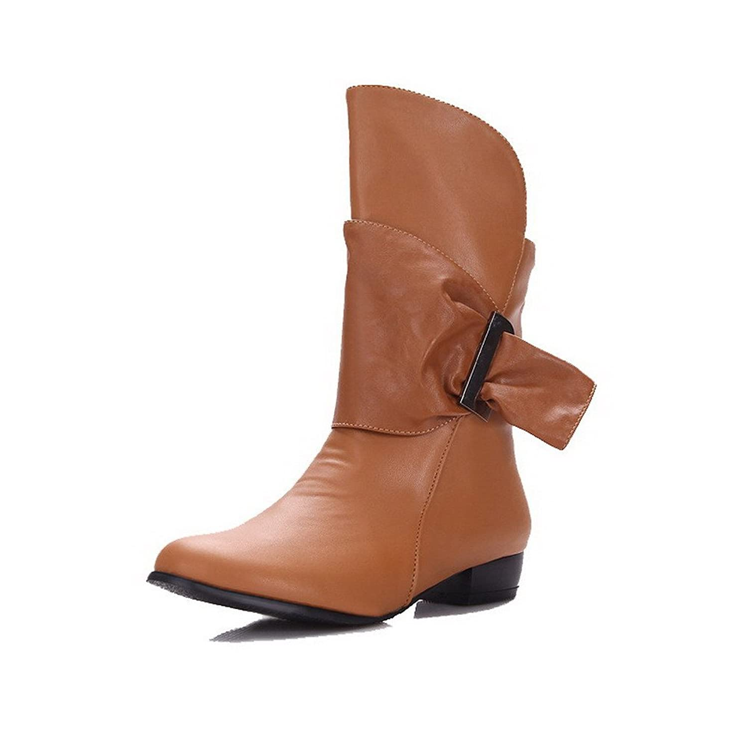 AmoonyFashion Women's Low-Heels Solid Round Closed Toe Soft Material Pull-on Boots