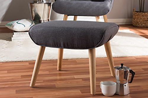 Baxton Studio 424-8130-AMZ Payton Mid-Century Modern Fabric Upholstered Natural Finished Wood Ottoman Dark Grey Wholesale Interiors