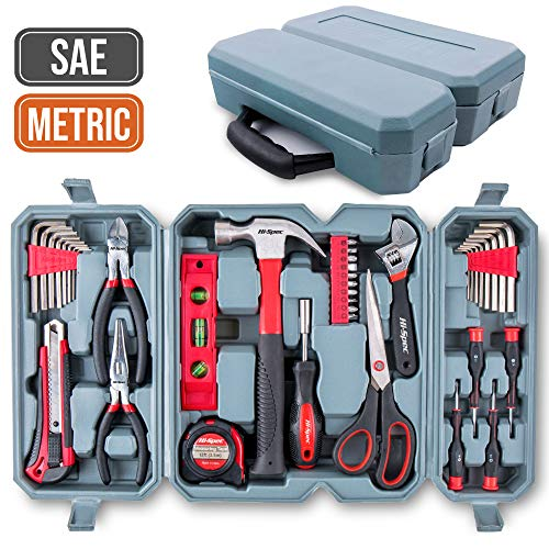 Car Tool Kit, Hi-Spec DT40201-US, Home Tool Set with Hammer, Adjustable Wrench, Precision Screwdrivers, Screw Bits, Long Nose Pliers, Side Cutters, Torpedo Level, Bit Driver in Tool Box, 50 Pieces
