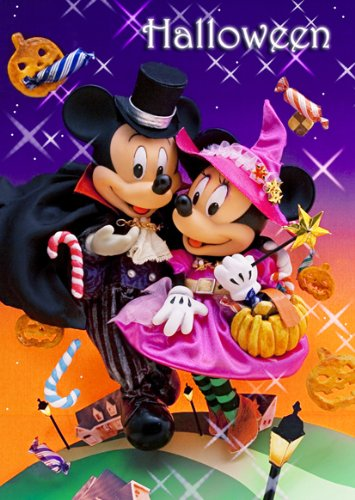 Disney Mickey and Minnie Halloween Night 3D Lenticular Greeting Card / Postcard