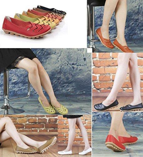 Wenhong Dames Dames Casual Uitgesneden Lederen Instappers Platte Schoenen Mocassins Sandalen Rood