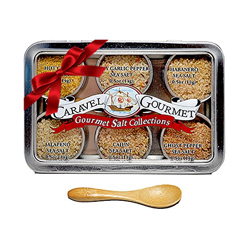 The Spicy Hot Gourmet Sea Salt Sampler - Perfect as a Gift Set - Reusable Tins & Bamboo Spoon - Ghost Pepper, Habanero, Jalapeno, Garlic Pepper, Cajun, & Curry Salts - by Caravel Gourmet - 1/2 oz each