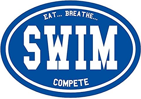 Swim Decal - Oval Eat Breathe Compete Swim Sticker - Swimming Bumper Sticker - Perfect Swimmer or Swim Coach Gift - Made in the - Ipod Redskin