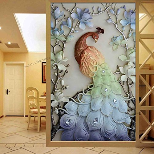 Faraway Peacock 5D DIY Crystal Diamond Rhinestone Painting Pasted Paint by Number Kits Animal Full Diamond Mosaic 40x60cm(Multicolour)