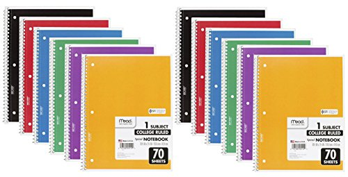 Mead Notebook Subject College Assorted