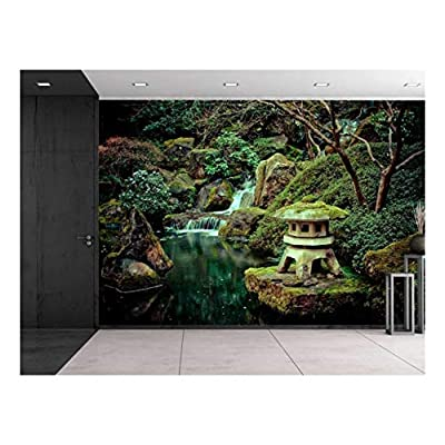 Lovely Portrait, With a Professional Touch, Little Shrine Sitting on a Rock on a Lake with a Waterfall Wall Mural