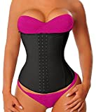 YIANNA Women's Latex Sports Waist Trainer Long Torso Waist Cincher Underbust 3 Hook Rows, Size M (Black)