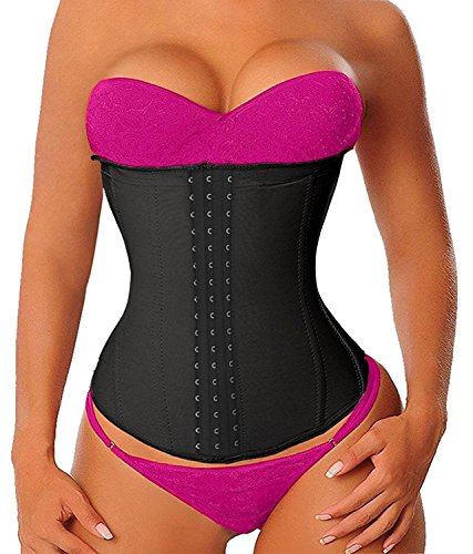 YIANNA Women's Latex Sports Waist Trainer Long Torso Waist Cincher Underbust 3 Hook Rows, Size M (Black) (Best Rated Waist Trainer)