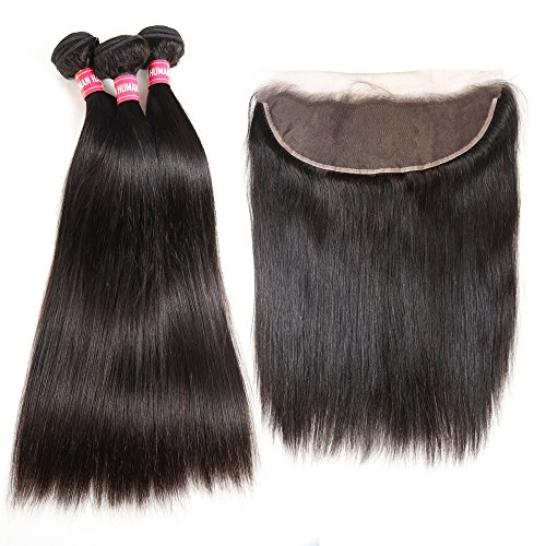 Brazilian Straight Hair 3 Bundles With Frontal Closure 13×4 Ear To Ear Lace Frontal With Bundles 100% Unprocessed Virgin Human Hair Extensions Weave Natural Color (22 24 26 +20 Frontal) by LONG YAO (Image #2)