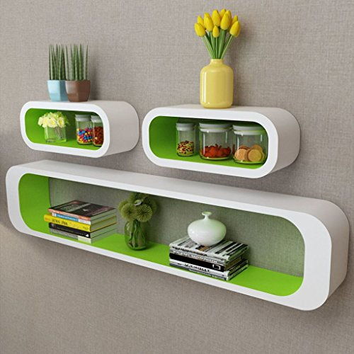 - Festnight Set of 3 Floating Wall Display Shelves Book DVD Storage Cubes MDF Wall Mounted Collectables Bookshelf for Living Room Home Office Decor Furniture (Green)
