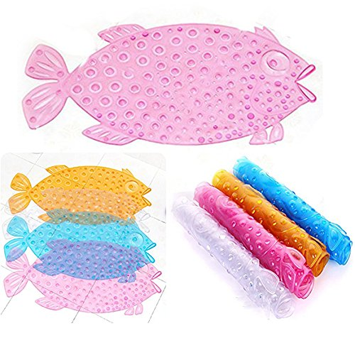 Itian Fish Bathroom Floor Mat Shower with Sucker Non-slip Anti Skid Suction Home Decor Safe (Pink)