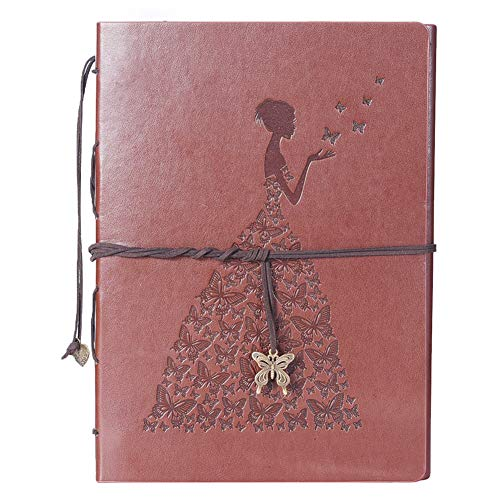 Scrapbook Leather DIY Photo Album Memory Book 60 Pages for Baby Anniversary Birthday Wedding Travel Graduation Picture (Large, Brown Girl?