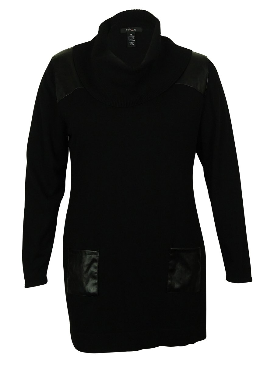Style & Co Women's Faux Leather Trim Tunic Sweater (PM, Deep Black)