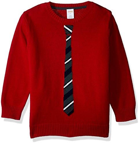 Gymboree Toddler Boys' Long Sleeve Crewneck Sweater Stripe Tie, Tango Red, 4T by Gymboree (Image #1)