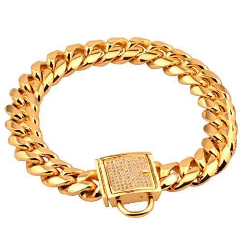 HuiTao Gold Dog Collar, Stainless Steel Heavy Duty Dog Chain Collar, 14mm 18K Gold Cuban Link Lock Buckle Pet Choker Necklace for Training (16'')