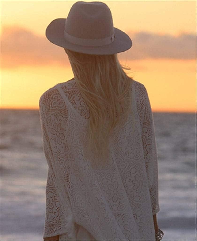 ERGEOB Damen Spitze Lange Strickjacke Sonneschutzkleidung Strand Bikini Urlaub H/ängerkleid