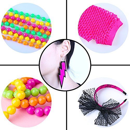 Coobey 80s Neon Bracelet Necklace Bow Headband Fishnet Gloves Lighting Earring by Coobey (Image #3)