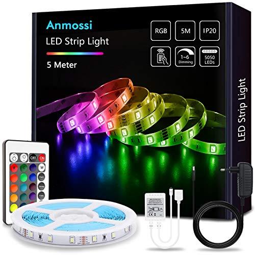 Anmossi Tiras LED 5m,Tiras de Luces LED RGB 5050 con Control Remoto de 24 Botones,20 Colores y 4 Modos,LED Tira para la Habitación,Dormitorio,Techo,Fiestas Decoración