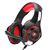 PC Gaming Headphones with Microphone Stereo Sound Headphone 3.5mm Over Ear Headset with LED Light Deep Bass for PlayStation4 Laptop Computer iphone5S iPhone6 plus Smartphone(Red)