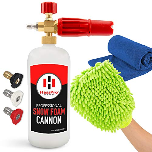 HassPro Foam Cannon Pressure Washer Gun - Premium Quality Foam Blaster 1LT Bottle with 1/4' Heavy Duty Quick Connector Release - Top Snow Foam Lance Brass Knob - Comes with a Detail Car Cleaning Kit