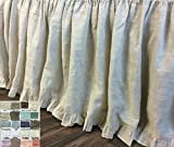 Natural Linen Bed skirt with ruffle hem, Linen Bed Skirt, Linen Dust Ruffle, White, Grey, Cream, Pink, Blue, Stripe, Chevron, over 40 color/patterns, Custom Size, Free Shipping