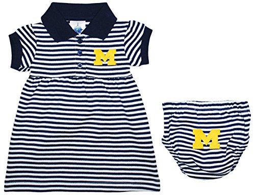 University of Michigan Wolverines Block M Striped Game Day Dress with Bloomer Navy 3-6 Months