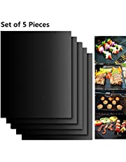 EXTSUD BBQ grillmatten, 5-delige set, antiaanbaklaag, grill- en bakmat, herbruikbaar, PFOA-vrij - geweldig over kolen, gas en Weber Style grills - perfect voor vlees, vis en groenten 40x33 cm