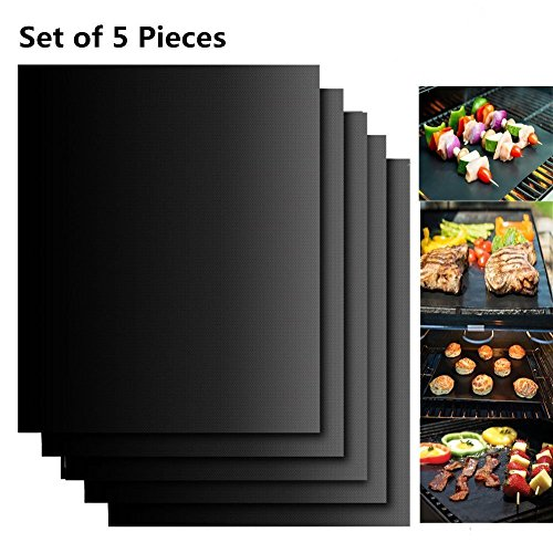 Extsud BBQ Grillmatten, 5er Set BBQ Antihaft Grill-und Backmatte wiederverwendbar PFOA-frei – Toll über Kohle, Gas und Weber Style Grills – Perfekt für Fleisch, Fisch und Gemüse 40x33 cm (5er set)