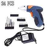 Candora 24pc Cordless Reversible Rechargeable Drill Bit 4.8v Electric Screwdriver Power