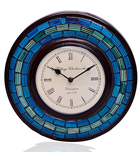 Blue Mosaic Clock - Purpledip Wall Clock 'Blue Magic'' - Mosaic of Glistening Blue Crystal Pieces set in Wood Frame for a Magical Effect | Size: 1212 inches  (10551)