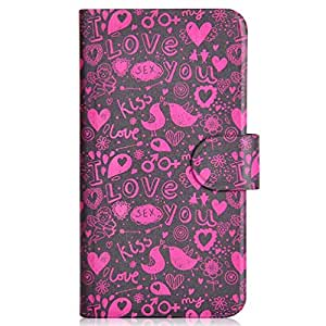 Generic Red Bird Kiss Love Bird Sexy Design Card Slot Magnetic PU Leather Flip Case Cover Compatible For HTC Incredible S G11 S710e