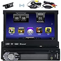 Wireless Backup Camera Eincar Universal Single 1 DIN 7 inch Motorized HD Touchscreen Car Stereo Autoradio GPS CD DVD Player Receiver, Bluetooth, Detachable Front Panel With Free 8 GB Map Card
