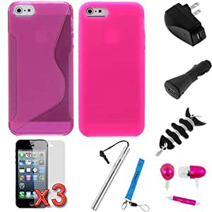 Evecase® 11-Items Essential Accessories Bundle kit for for Apple® iPhone® 5, 6th Generation iPhone, The 2012 New iPhone [ includes Hot Pink Case, Silicone Case, LCD, Handsfree, Adapters, Strap ]