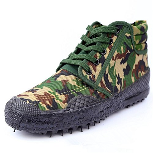 Always Pretty Unisex Lace up Working Safety Shoes Slip-Resistant High-Cut Sneaker Camouflage