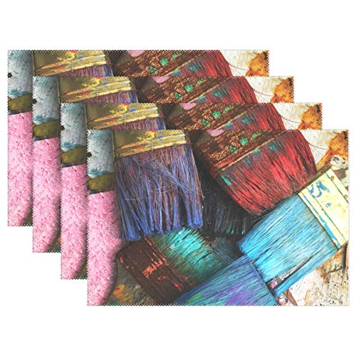 - Fengye Placemats Assorted Colorpaintbrushes Kitchen Table Mats Resistant Heat Placemat for Dining Table Washable 12