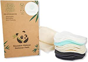 16 Reusable Makeup Remover Pads | Washable Organic Cotton, Bamboo, Hemp Material | Sustainable, Eco-Friendly Eye and Facial Cleansing | Plastic free | With Laundry Bag | Black, White, Beige | Reusable Cotton Pads