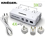KRIËGER 200W Power Converter Steps Down 220V to 110V Allows you to connect American 110V Devices overseas KRV200 200 watt transformer also includes 4 USB outlets. ...