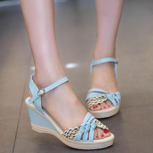 Materiale Toe PU Donna alto Zeppe Platform Artificiale Sandali Boemia Longra Scarpe Blu tacco col alta Moda scarpe estivi WwYc1qcFS