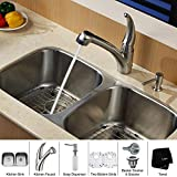 "Kraus KBU22-KPF2110-SD20 32"" Undermount Double Bowl Stainless Steel Kitchen Sink with Kitchen Faucet and Soap Dispenser"