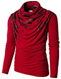 H2H Mens Unique Slim fit Fashionable Designed Shirring Long Sleeve T-Shirts RED US XL/Asia XXL (KMTTL0252)
