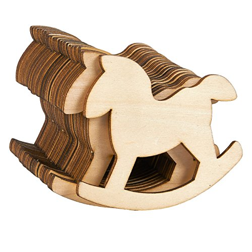Unfinished Wood Cutout - 24-Pack Horse Shaped Wood Pieces for Wooden Craft DIY Projects, Gift Tags, Home Decoration, 4 x 3 x 0.1 -
