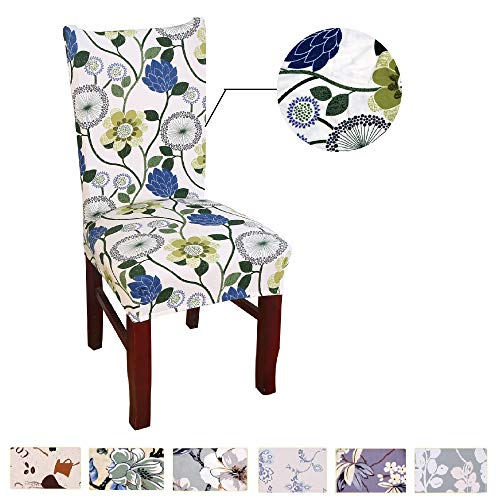 Argstar 2pcs Chair Covers for Dining Room Spendex Slipcovers Blue Flower Design ()