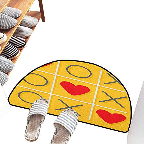 (Axbkl Welcome Door mat Love Tic Tac Toe Game with XOXO Design Let Me Kiss You Valentines Romantic Illustration Indoor Outdoor, Waterproof, Easy Clean W36 xL24 Yellow Red)