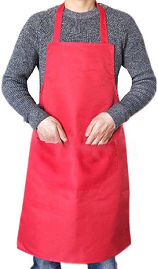 Fanxis Solid Apron Commercial Restaurant Kitchen Cook Pinafore with Front Pocket
