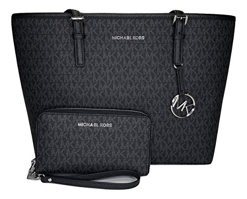 (MICHAEL Michael Kors Jet Set Travel MD Carryall Tote bundled with Michael Kors Jet Set Travel Flat Phone Wristlet/Wallet (Signature MK Black))