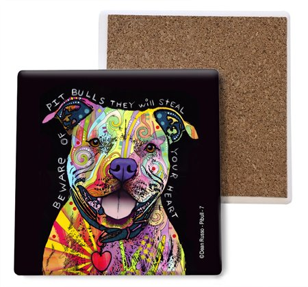 SJT ENTERPRISES, INC. Pitbull - Beware of Pitbulls They Will Steal Your Heart Absorbent Stone Coasters, 4-inch (4-Pack) Features The Artwork of Dean Russo - Stone Bull