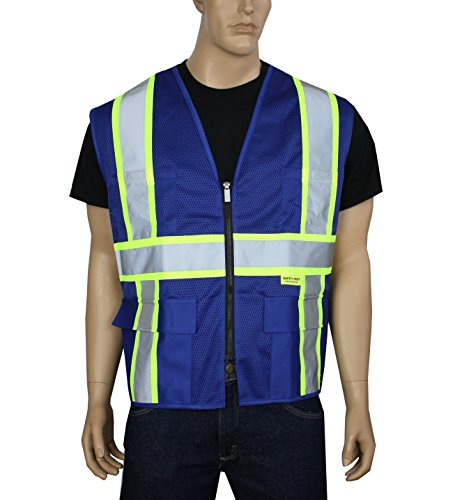 Safety Depot Professional Style Mesh Safety Vest Reflective Two Tone Zipper with Pockets Hi Viz MP40 (Royal Blue, - Safety Disposable Vests